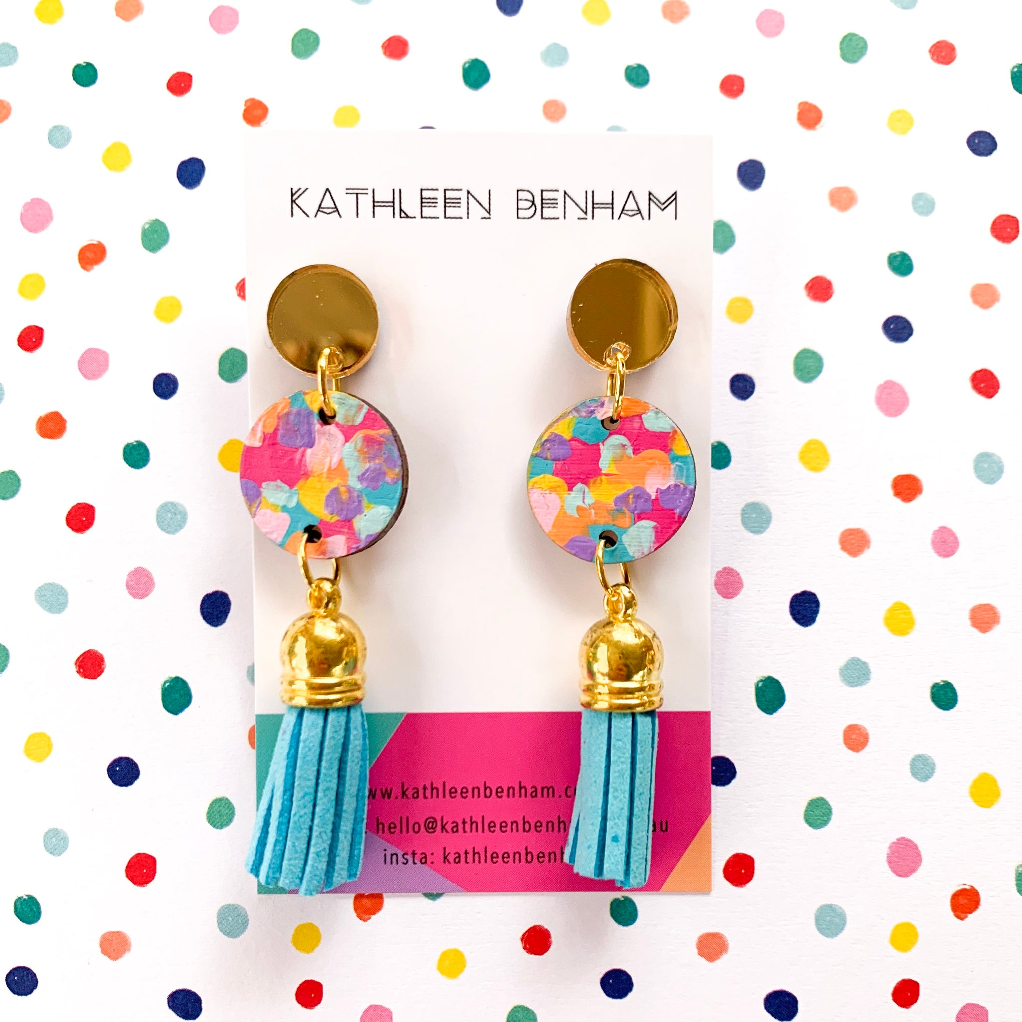Tegan hand painted wood with tassel earrings Rainbow