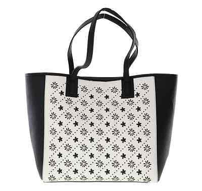 Vera Bradley Laser Cut Tote in Black/White Flowerlines