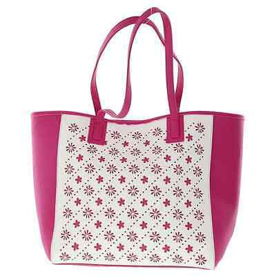 Vera Bradley Laser Cut Tote in Fuchsia/White Flowerlines NEW