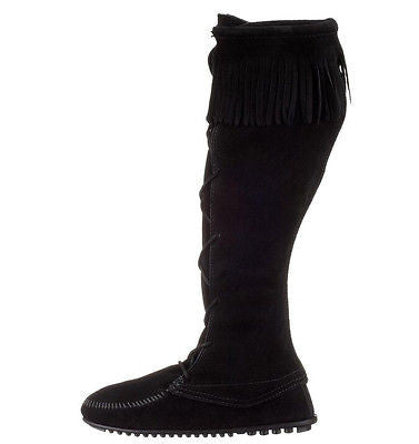 Minnetonka Women's 1429 Front Lace Knee-High Boot Black NEW