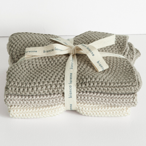 Cotton Washcloth Set - Taupe