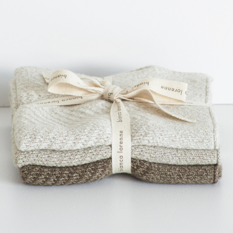 Cotton Washcloth Set - Cheval Taupe