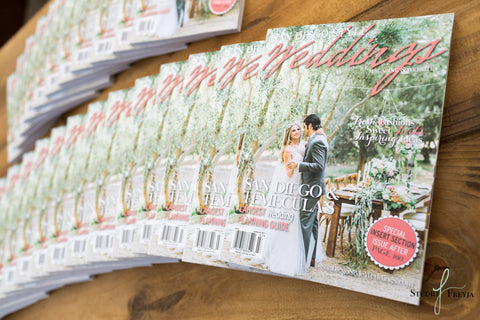 Wedding magazines on table