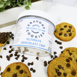 Take and Make Ultimate Chocolate Chip - Cravory mix jar and chocolate chips and cookies