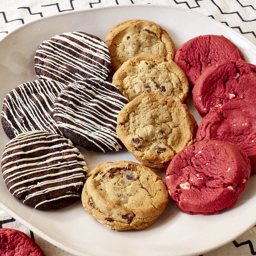 Chocoholics Mix, Gourmet Cookies - red velvet, ultimate chocolate chip, chocolate truffle closeup