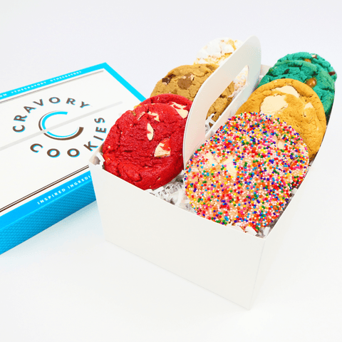 Monthly Cookie Subscription - Dozen cookies displayed in Cravory box
