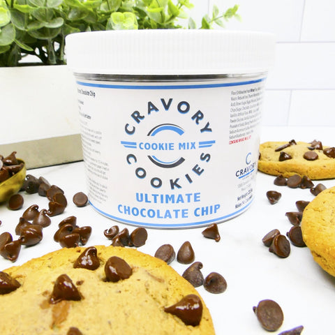 Take and Make Ultimate Chocolate Chip - Cravory mix jar and chocolate chips