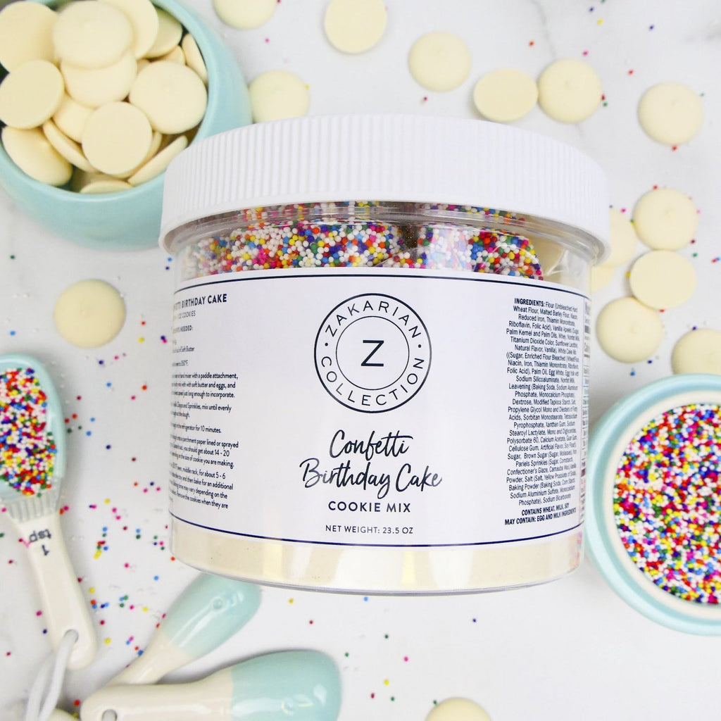 Zakarian Confetti Birthday Cake Cookies overlay with chocolate and sprinkles
