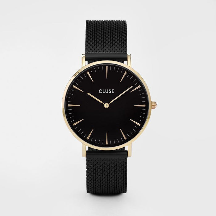 Cluse La Boheme Watch Mesh Gold Black/Black Front