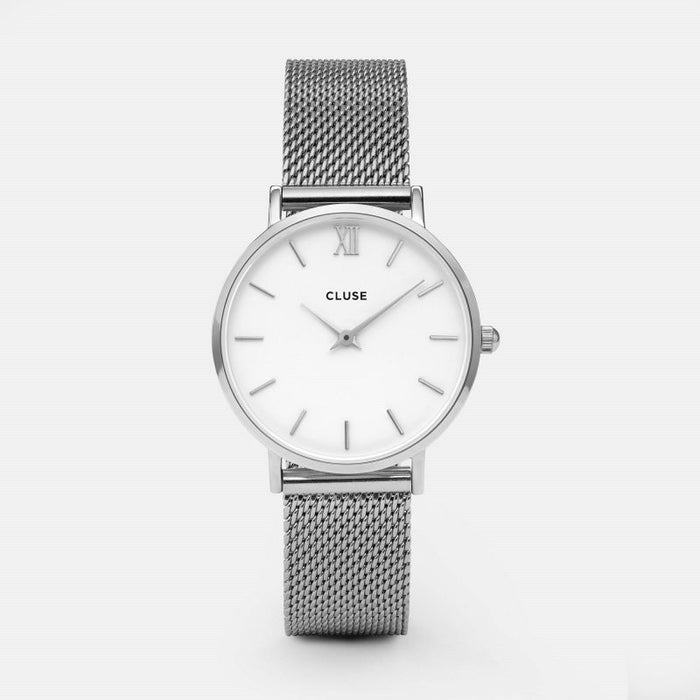 Cluse Minuit Watch White Face & Silver Mesh Front Front