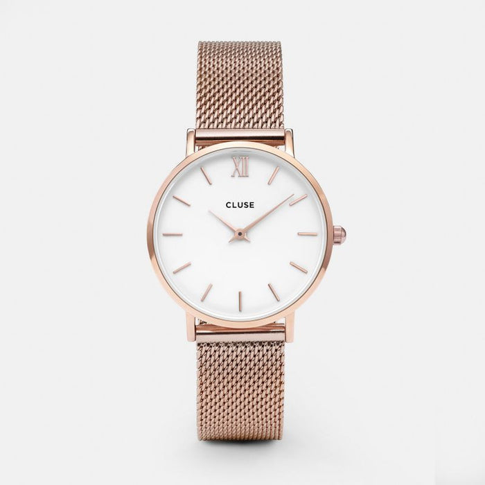 Cluse Minuit Watch Mesh Rose Gold/White Front