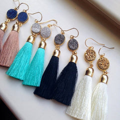 Fringe Pom Pom Earrings Multicolored