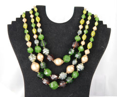Green and Gold Lucite Necklace from West Germany
