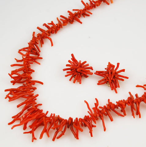 Orange Coral Necklace Set