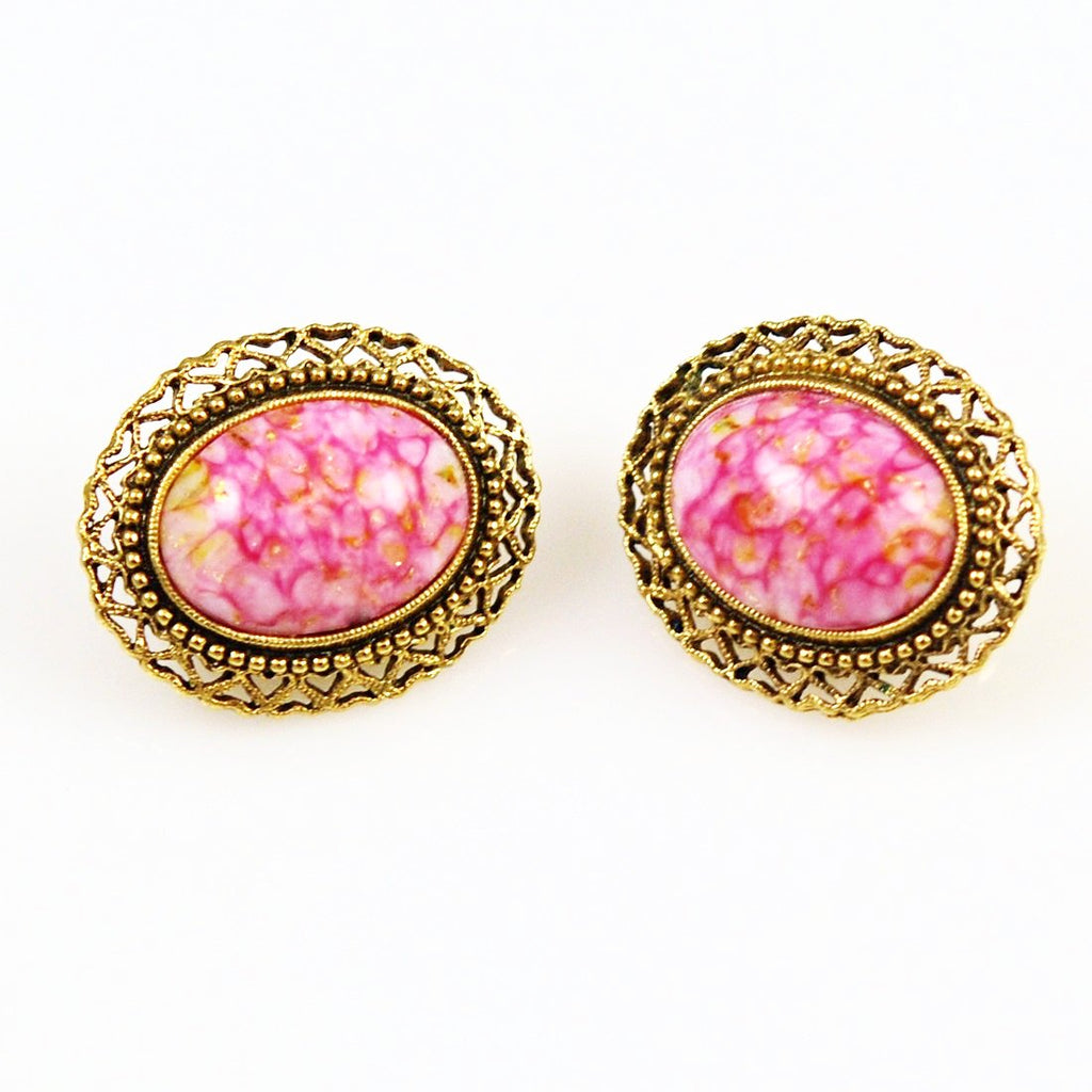 1928 Pink Clip On Earrings