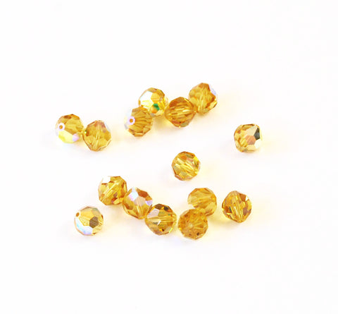 Swarovski 39 Light Topaz AB 8mm Austrian Beads