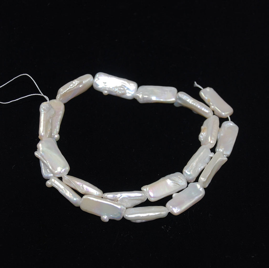 White Biwa Pearl Rectangle Beads Strand