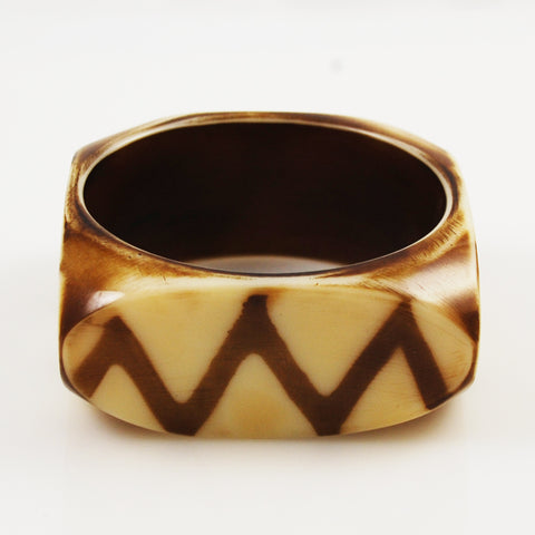 Chunky Square Bone Bangle Vintage