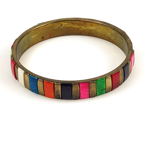 Colorful Bone and Brass Bangle Bracelet