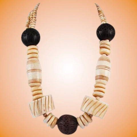 Chunky Bone & Ebony Necklace Vintage