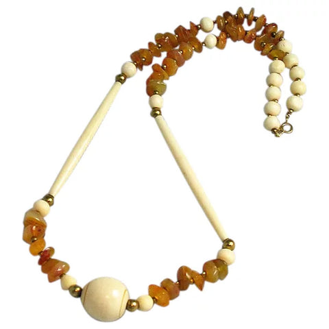 Carved Bone & Agate Necklace Ethnic Boho