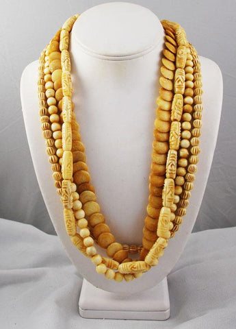 Multi-Strand Carved Bone Necklace Vintage