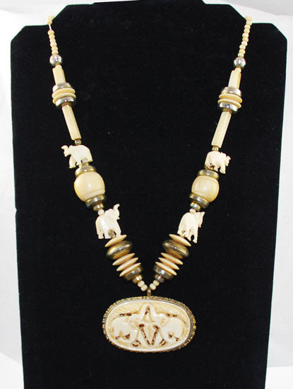 Vintage Carved Bone Elephant Necklace