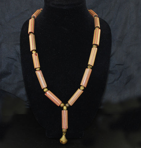 African Chevron Trade Bead & Brass Necklace