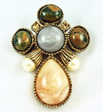 Ciner Cross Brooch & Pendant Designer Signed Vintage