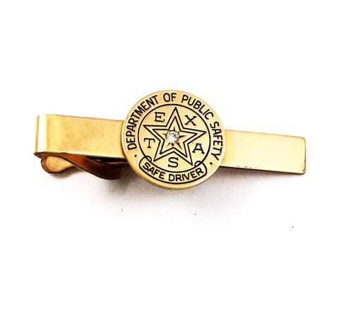 Texas Dept of Safety Gold Filled Diamond Tie Bar Clip
