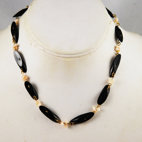 Black and Angel Skin Coral Necklace