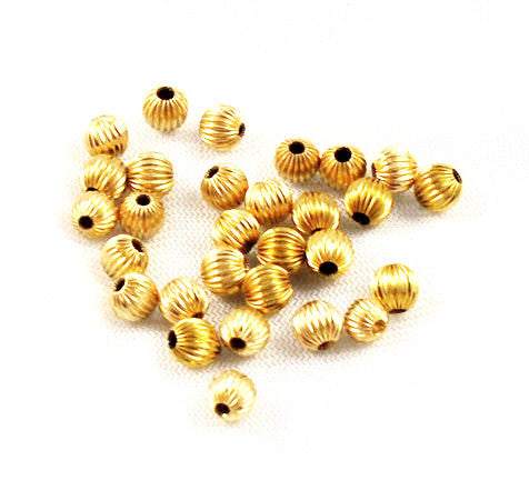 14K Gold Filled Fluted Round Beads