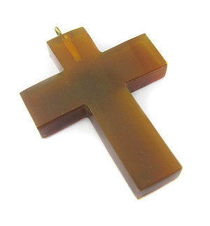 Golden Amber Horn Cross Natural Buffalo Horn