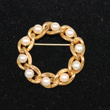 Gold Pearl Circle Pin Brooch Vintage