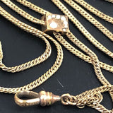 Antique Gold watch chain with slide JFS