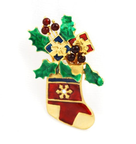 KC Christmas Stocking Brooch Pin Holiday Vintage