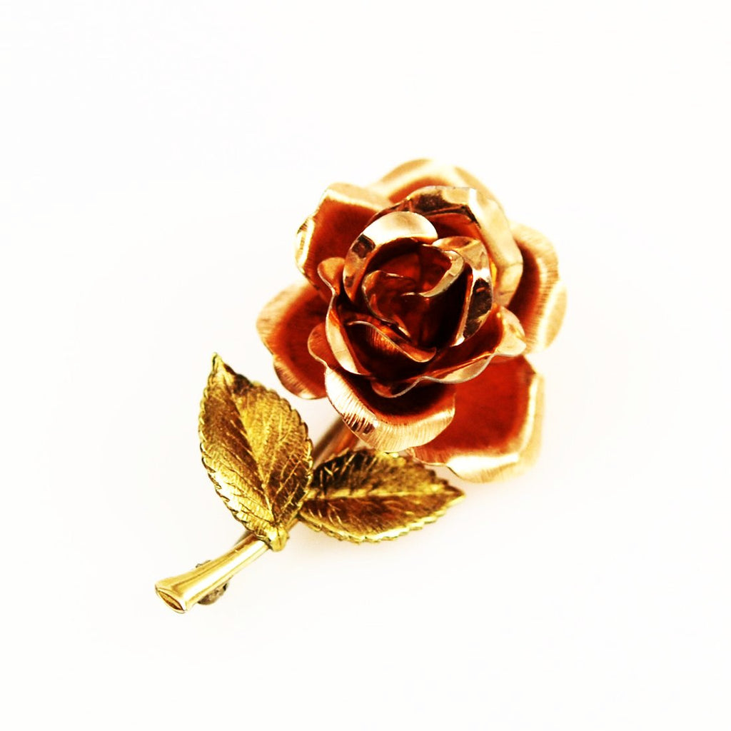 Krementz Gold Rose Brooch Vintage