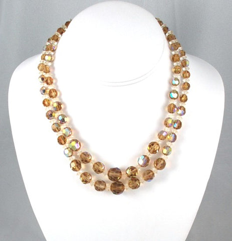 Swarovski Crystal Topaz Double Strand Necklace