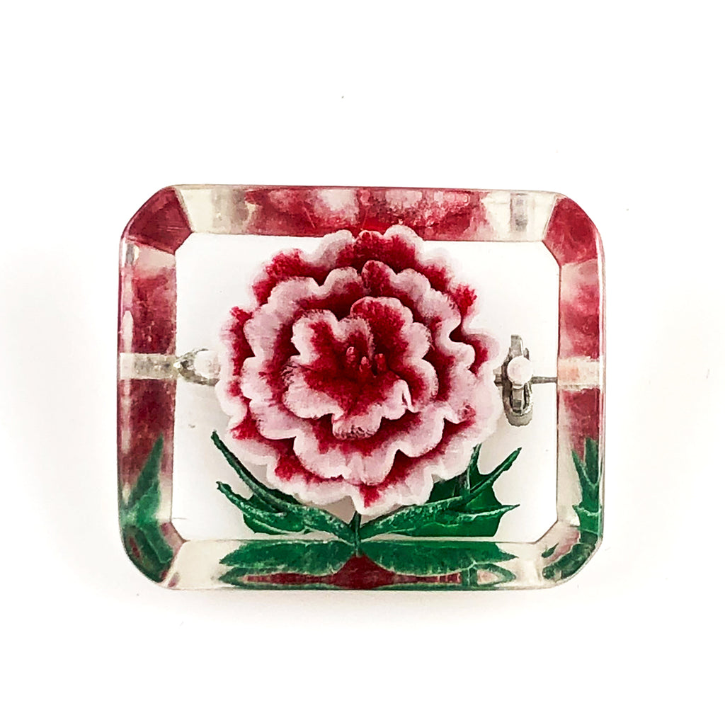 Lucite Reverse Carved Floral Pin