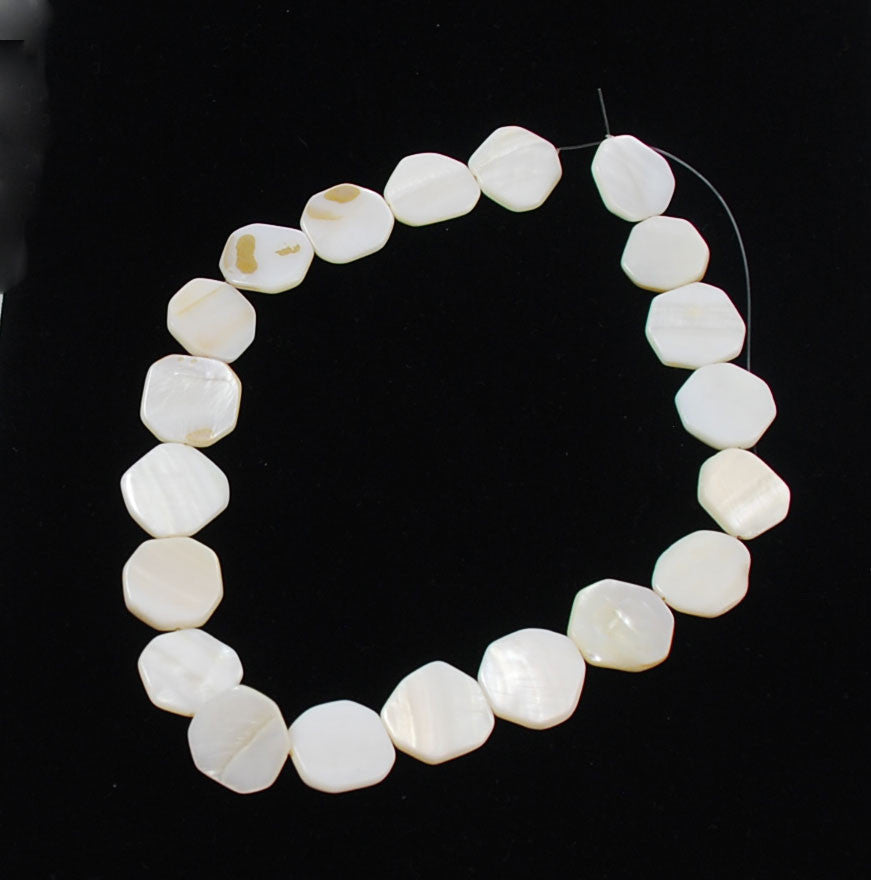 White Mother of Pearl Shell Octagon Beads Strand