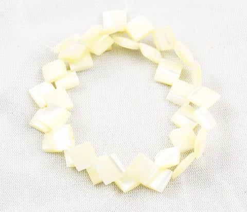 White Mother of Pearl Diamonds Beads Strand
