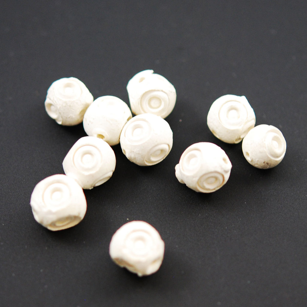 Carved Meerschaum 10mm Eye Beads Rare
