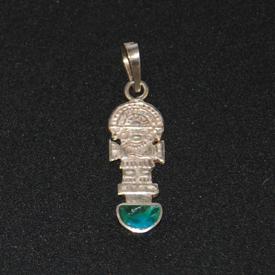 Mayan Chrysocolla Sterling Silver Charm