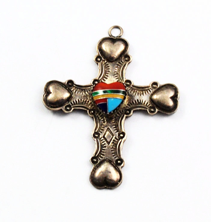 Native American Sterling Inlaid Cross with Hearts