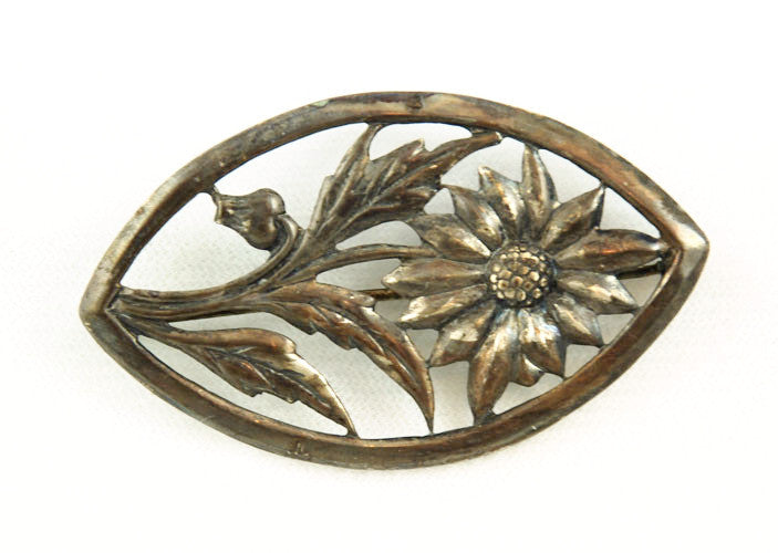 Sterling Floral Pin Brooch Vintage