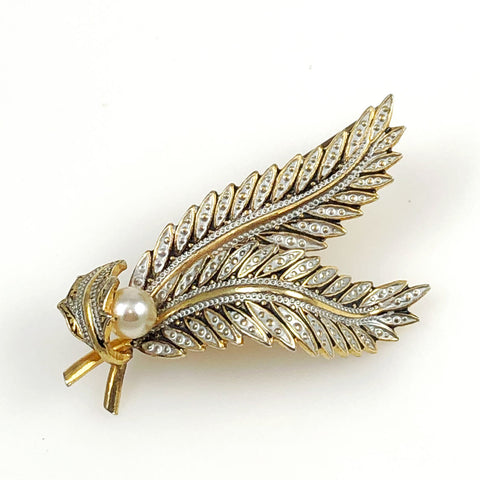 Gold Damascene Leaf Brooch Spain