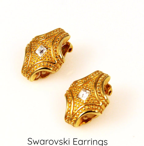 Swarovski Gold and Crystal Clip Earrings Vintage