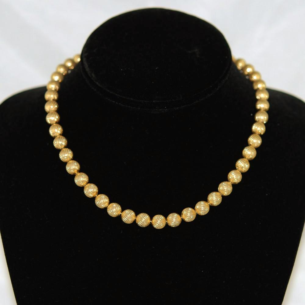 Trifari Gold Bead Necklace Vintage 8mm