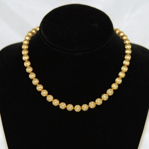 Trifari Gold Bead Necklace Vintage