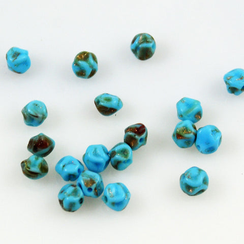 Turquoise Blue & Gold Beads Vintage (12)